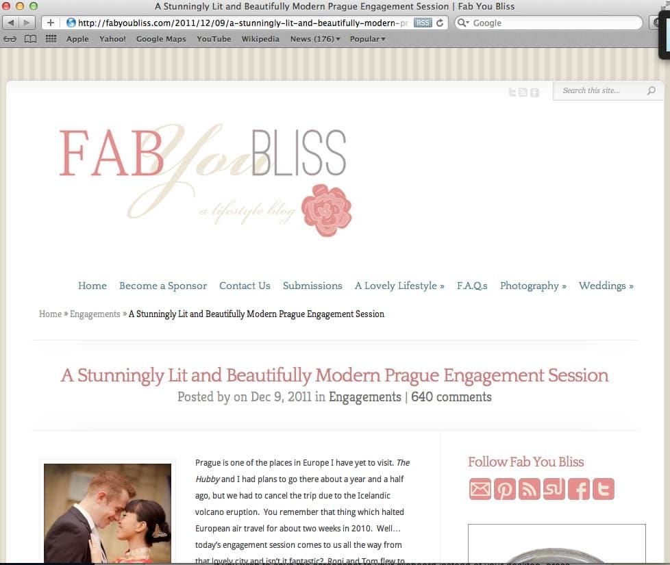 {Prague wedding photographer} Roni & Tom had their beautiful wedding featured on Fab You Bliss!