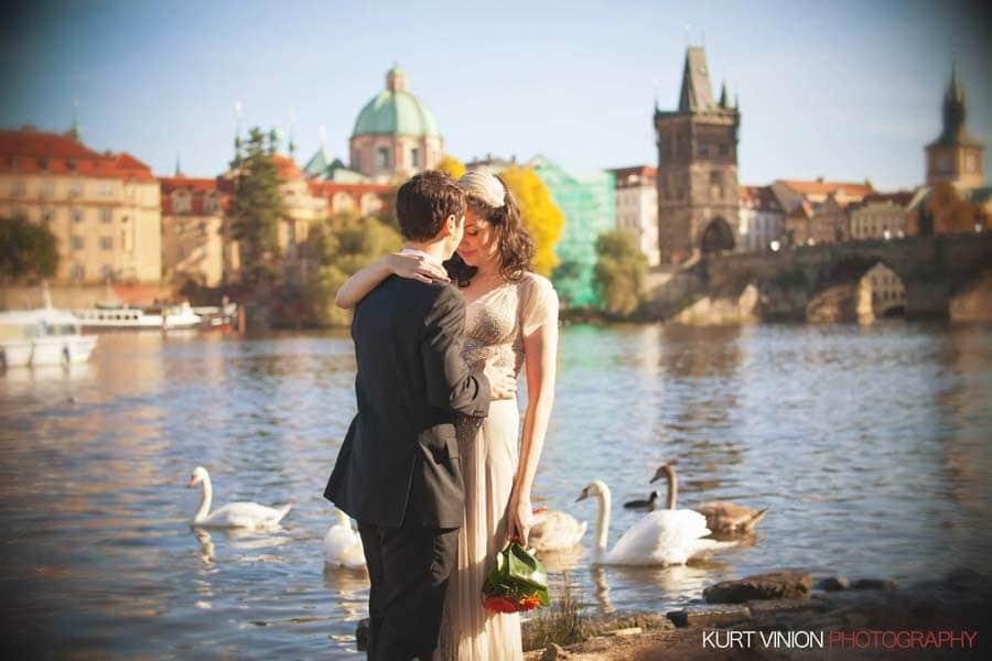Prague wedding elopement / photography / Libby & Scott near the Charles Bridge