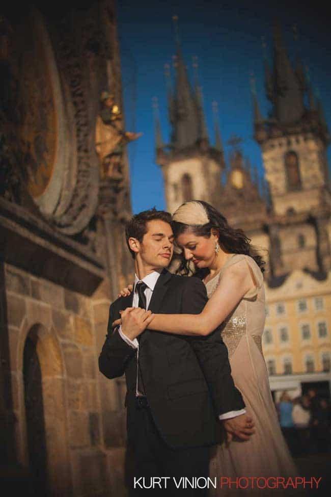 Prague wedding elopement / photography / Libby & Scott under the Astronomical Clock