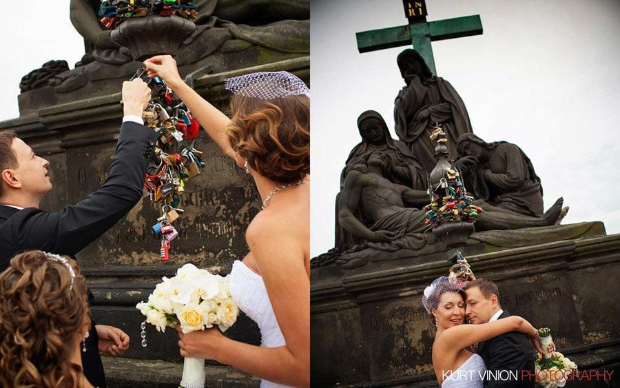 prague wedding photography / M & N luxury wedding / atop the Charles Bridge