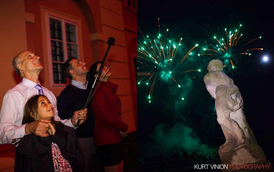 prague wedding photography / M & N luxury wedding / fire show at Dobris Castle