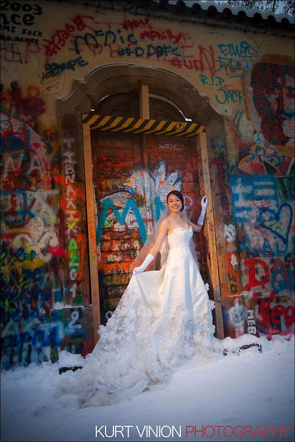 Prague pre wedding photography / Helen & CY winter pre wedding portraits at the John Lennon Wall