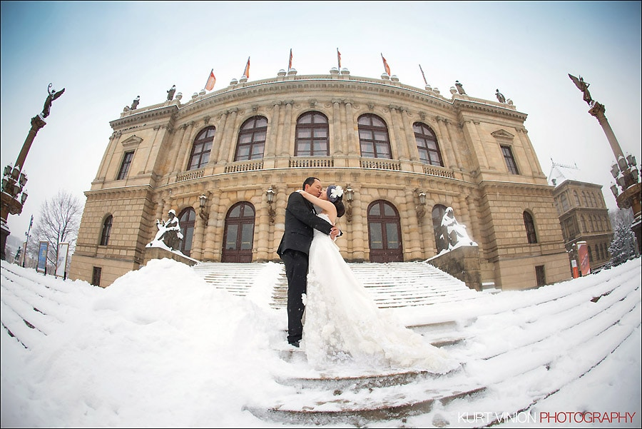 Prague pre wedding photography / Helen & CY winter pre wedding portraits at the Rudolfinum