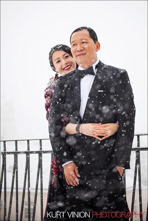 Prague pre wedding photography / Helen & CY winter pre wedding portraits at the Presidential Suite of the Mandarin Oriental Prague