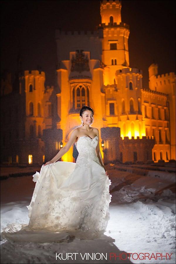 Prague pre wedding photography / Helen & CY winter pre wedding portraits at Castle Hluboka nad Vltavou