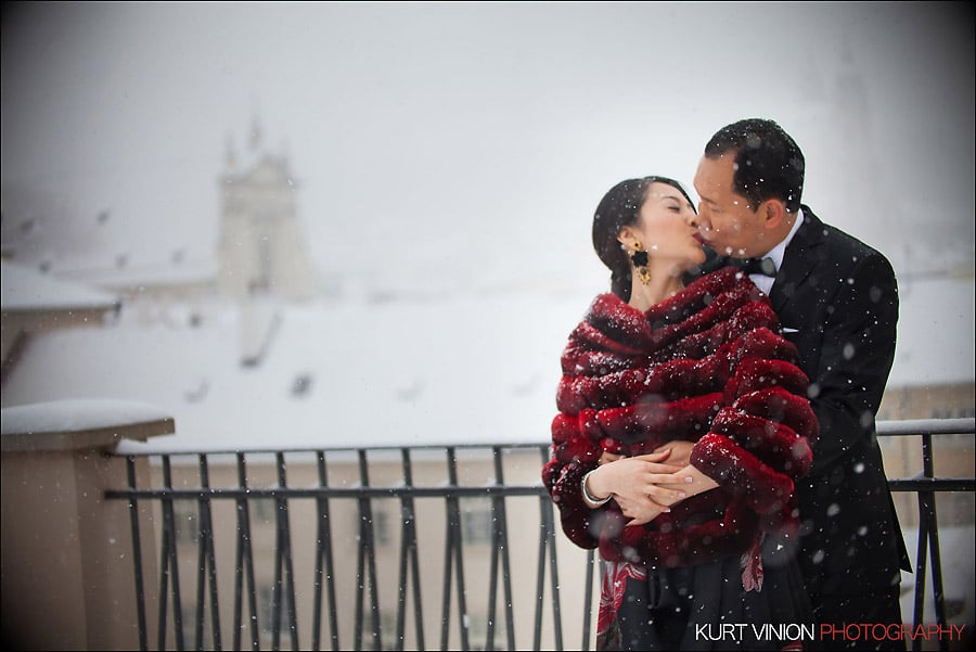 Prague pre wedding photography / Helen & CY winter pre wedding portraits at the Presidential Suite of the Mandarin Oriental
