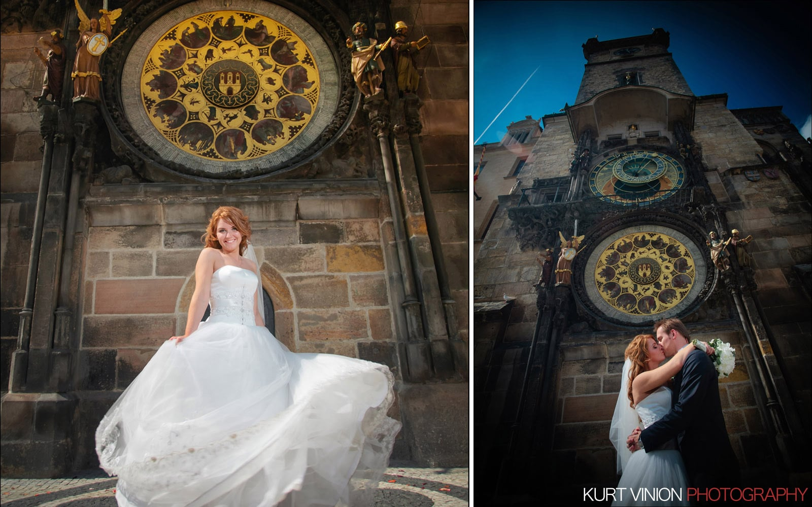 Elopement wedding Prague / Polya & Dirk wedding portraits at the Astronomical Clock