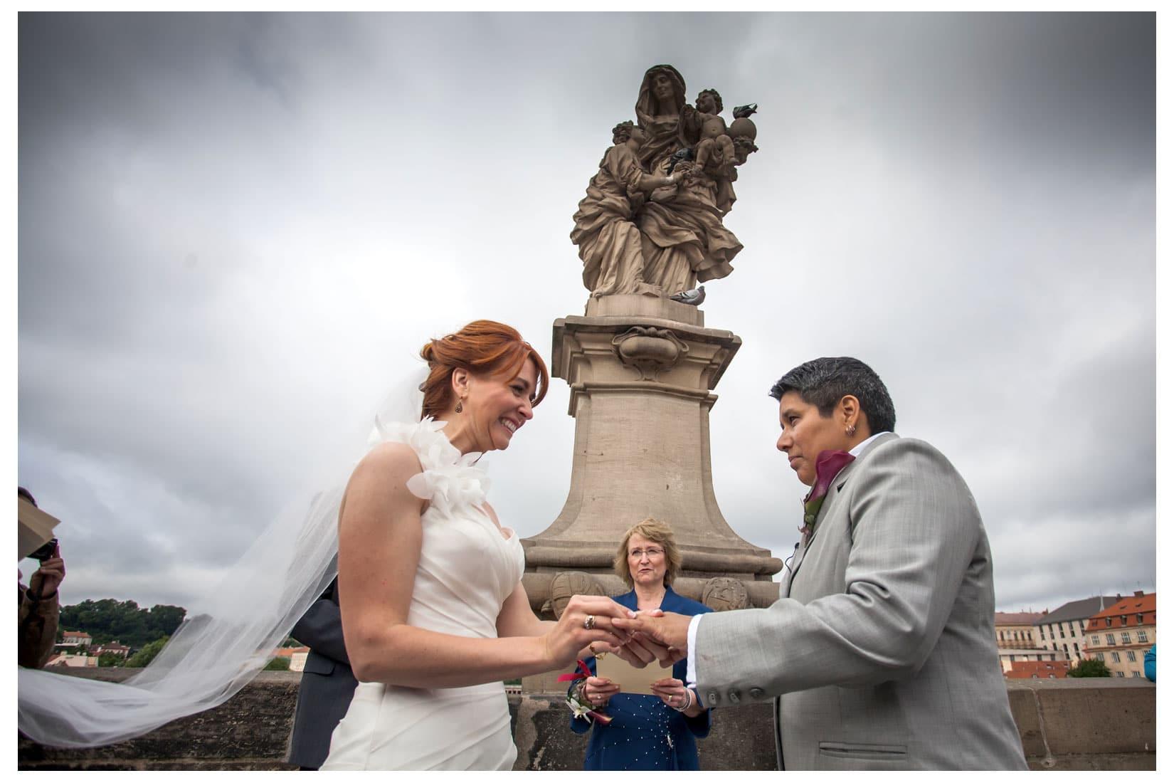 Charles Bridge Wedding / Kimberly & Jules / wedding party atop the Charles Bridge