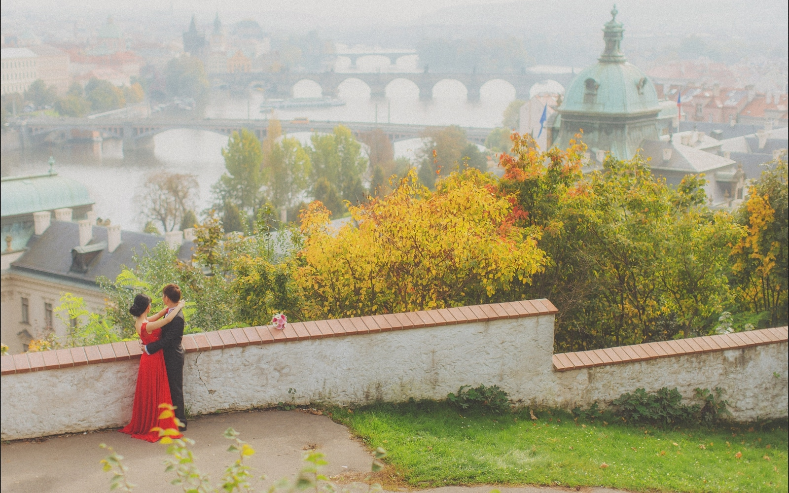 Prague pre wedding / Sharon & Danny Fall portraits session overlooking the Old Town and Charles Bridge