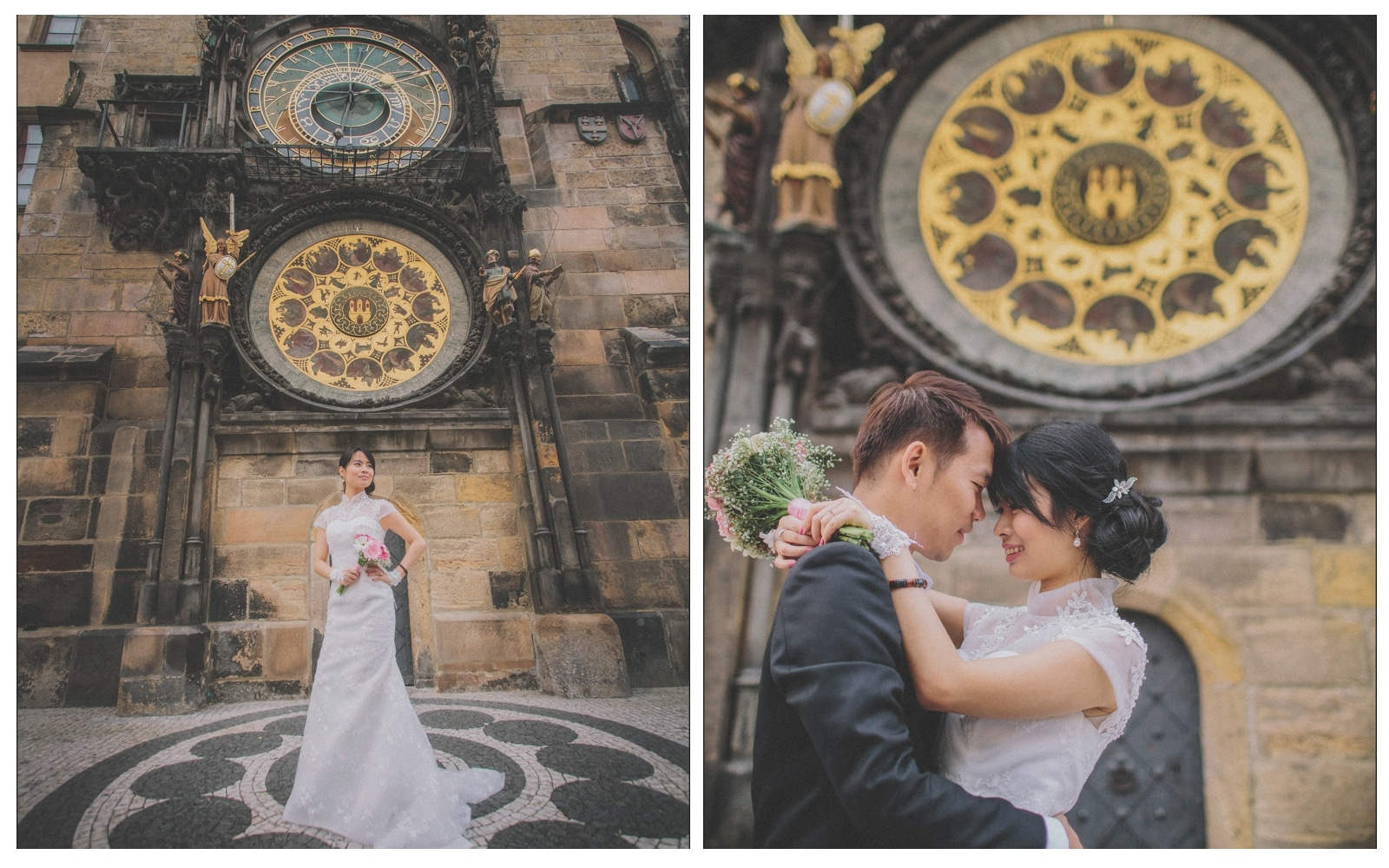 Prague pre wedding / Sharon & Danny Fall portraits session at The Astronomical Clock