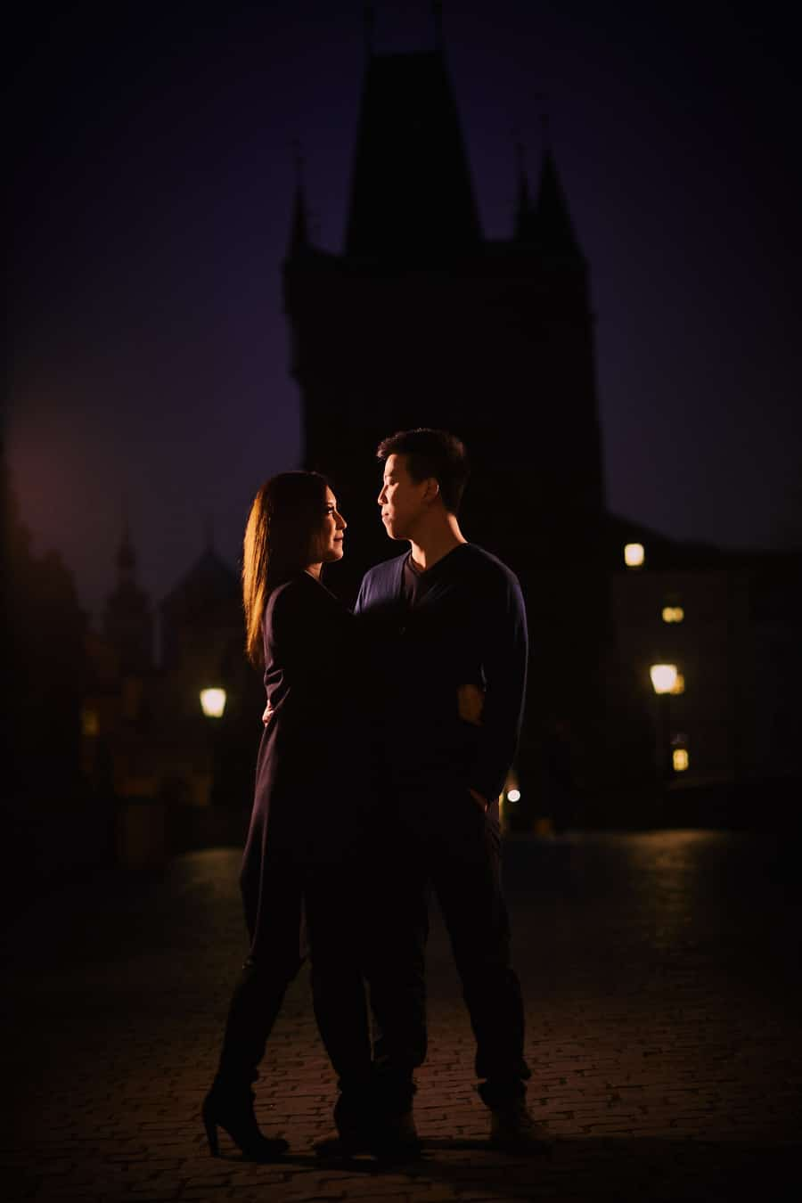 a night time lifestyle / fashion photography engagement session in Prague with A+D (USA)