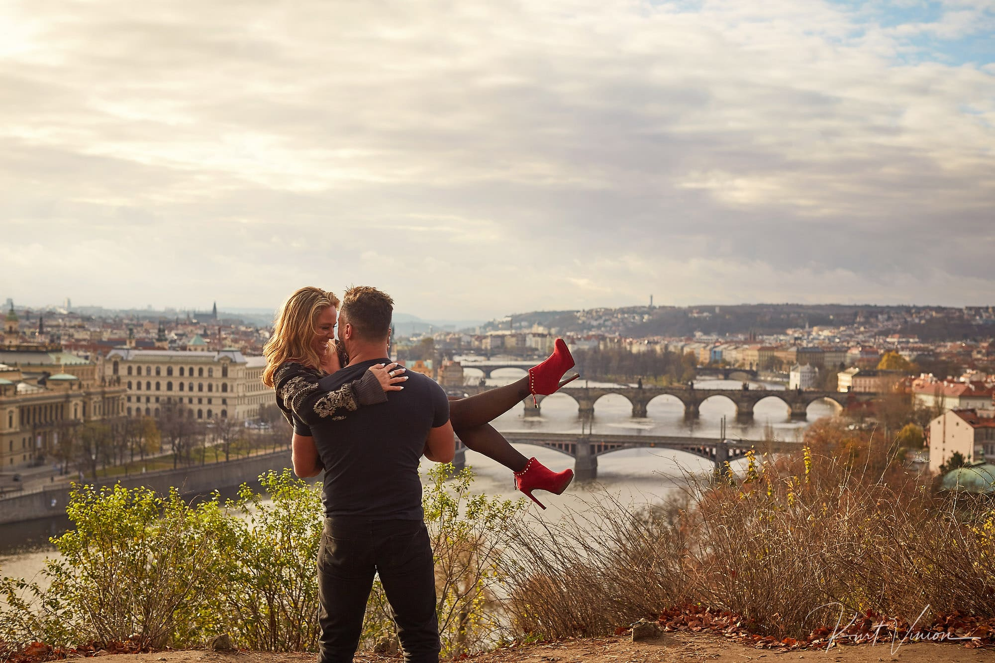 A surprise marriage proposal in Prague featuring Cynthia & Matt